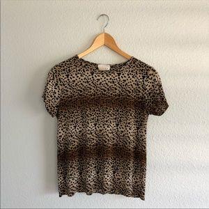 90s VTGCheetah Print Textured Top Silky Shirt